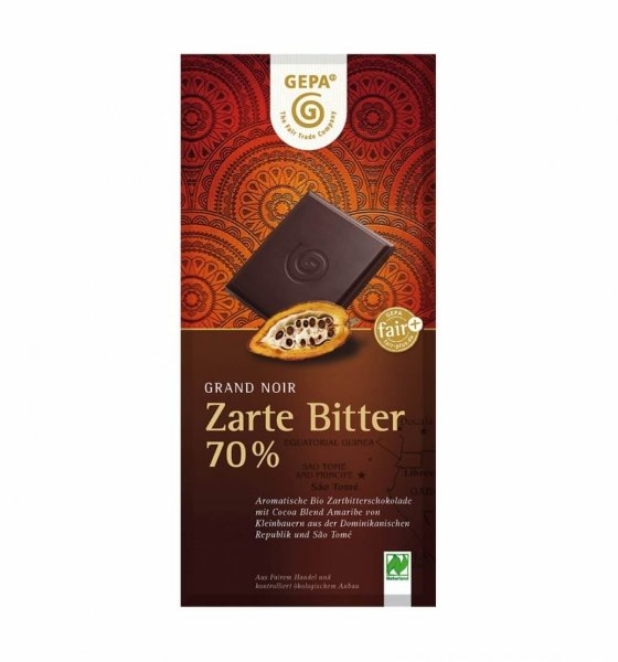 Bio-Zartbitterschokolade Orange 70%-Bio-Zartbitterschokolade Orange aus Fairem Handel von GEPA-Fairer Handel mit Schokolade und Kakao-Fairtrade Bio-Schokolade aus Bolivien, Paraguay und Sao Tome