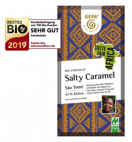 Bio-Schokolade Salty Caramel-Bio-Schokolade Karamell-Crisp Salz aus Fairem Handel-Fairer Handel mit Kakao und Schokolade aus Afrika-Fairtrade Bio-Schokolade von GEPA Sao Tome