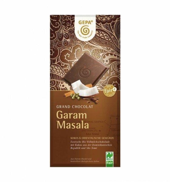 Bio-Schokolade Garam Masala-Bio-Schokolade Garam Masala aus Fairem Handel von GEPA-Fairer Handel mit Schokolade, Kakao und Gewuerzen-Fairtrade Bio-Schokolade aus der Dominikanischen Republik und Sao Tome