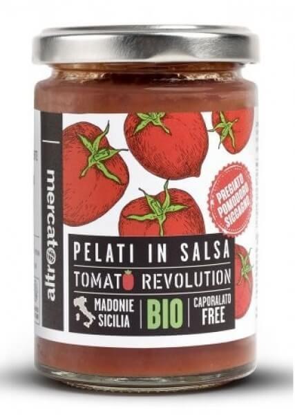 geschälte Bio-Tomaten 'Siccagno', in eigenem Saft-Siccagno Bio-Tomaten Pelati in salsa aus Fairem Handel von Altromercato-Fairer Handel ohne Mafia mit Tomaten in Europa Italien-Faitrade Bio-Siccagno Tomaten von Kleinbauern aus Sizilien
