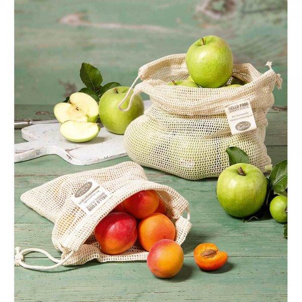 Mehrwegnetze für Obst und Gemüse - 2er Set, mittel-Bio-Baumwolle Einkaufsnetz Mehrweg aus Fairem Handel-Plastik vermeiden Ressourcen sparen-Fair Trade Bio-Baumwoll-Netz Mehrwegbeutel Obst Gemuese