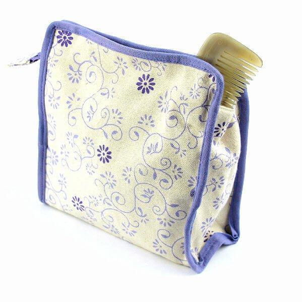 Canvas Kosmetiktasche 'Kusum' - Bio-Baumwolle-Kosmetiktasche aus GOTS Bio-Baumwolle aus Fairem Handel Ethic Art-Fairer Handel mit nachhaltiger GOTS zertifizierter Bio-Baumwolle-Fairtrade Bio-Baumwoll Kosmetiktasche aus Indien