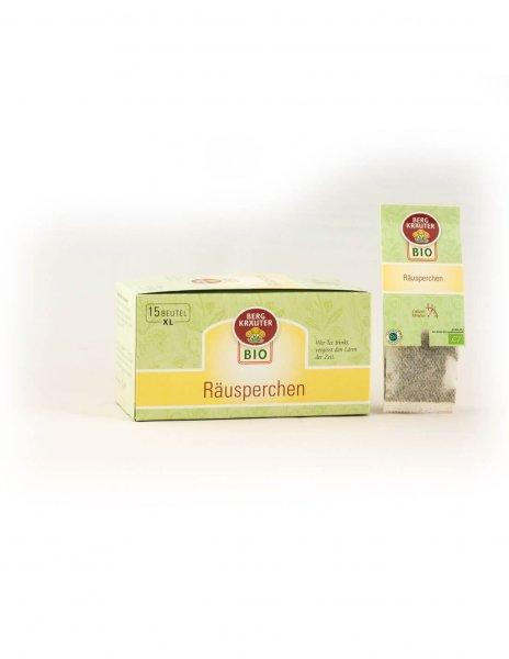 Bio-Kräutertee 'Räusperchen' im XL-Teebeutel-Bio-Kraeutertee Raeusperchen aus Fairem Handel-Fairer Handel mit Tee und Kraeutern in Europa-Fairtrade Bio-Kraeutertee aus Oesterreich