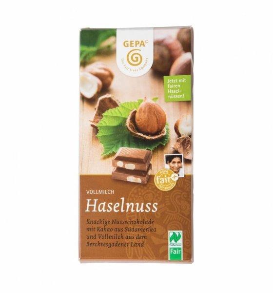 Bio-Vollmilchschokolade Haselnuss-Bio-Vollmilch-Schokolade Haselnuss aus Fairem Handel von GEPA-Fairer Handel mit Schokolade, Haselnuessen und Kakao-Fairtrade Bio-Vollmilch-Schokolade aus São Tomé, Bolivien und der Tuerkei