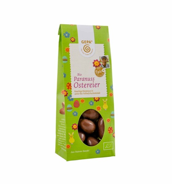 Bio-Paranuss Ostereier in Vollmilchschokolade-Bio-Paranuss Ostereier in Schokolade aus Fairem Handel-Fairer Handel mit Suessigkeiten an Ostern-Fair Trade Bio-Paranuss Ostereier aus Bolivien und Peru