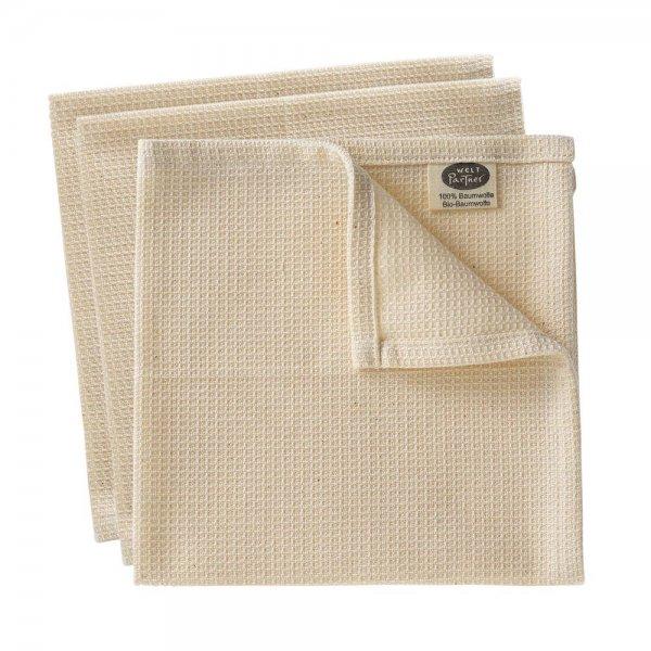 Spültücher, aus 100% Bio-Baumwolle - 3er Set-Bio-Baumwolle Spueltuch natur aus Fairem Handel von Weltpartner-Plastikfrei nachhaltig leben Ressourcen sparen-Fair Trade Bio-Baumwolle Spueltuch aus Indien