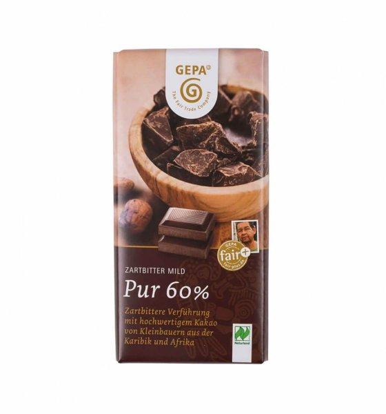 Bio-Zartbitterschokolade Pur 60%-vegane Bio-Zartbitterschokolade aus Fairem Handel von GEPA-Fairer Handel mit Kakao und Schokolade-Fairtrade Bio-Zartbitterschokolade von Kleinbauern