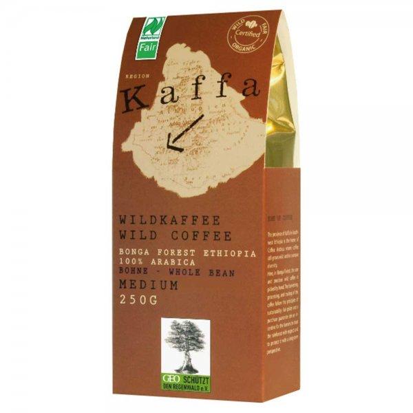 Kaffa Wildkaffee Bio-Röstkaffee - medium, ganze Bohne-Kaffa Bio-Kaffee Wildkaffee aus Fairem Handel von Original Food-Fairer Handel mit Kaffee und Wildkaffee-Fairtrade Bio-Kaffee aus Wildsammlung Bonga Forest Kaffa Aethiopien