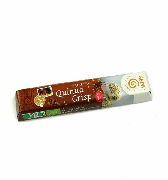 Fairetta Bio-Schokoriegel Quinua-Crisp-Bio-Schokoriegel Quinoa Crisp von GEPA aus Fairem Handel-Fairer Handel mit Kakao, Quinoa und Milch-Fairtrade Bio-Schokoriegel Kids aus Bolivien und Paraguay