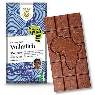 Bio-Schokolade Vollmilch-Bio-Schokolade Vollmilch Fair Africa aus Fairem Handel-Fairer Handel mit Kakao und Schokolade aus Afrika-Fairtrade Bio-Schokolade von GEPA Sao Tome