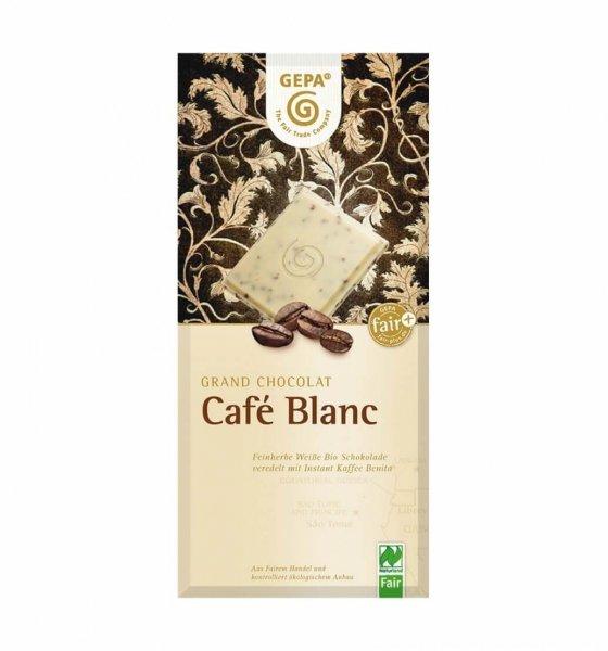 Weisse Bio-Schokolade Café Blanc-weisse Bio-Schokolade Grand Chocolat Café Blanc aus Fairem Handel-Fairer Handel mit Kakao, Kaffee und Schokolade-Fairtrade Bio-Schokolade weiss aus Paraguay und Bolivien