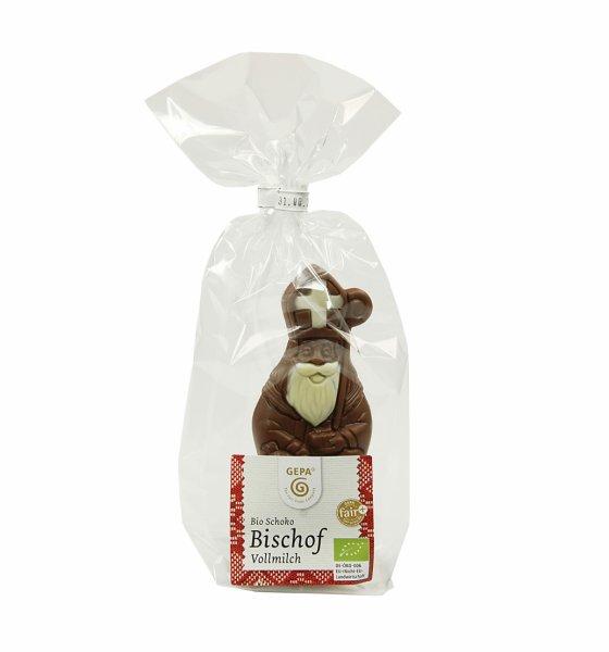 Bio-Schokoladen Nikolaus, Vollmilch-Bio-Schokoladen Nikolaus verziert aus Fairem Handel-Fairer Handel Weihnachten Nikolaus Schokolade-Fairtrade Bio-Schokoladen Nikolaus verziert Weihnachten