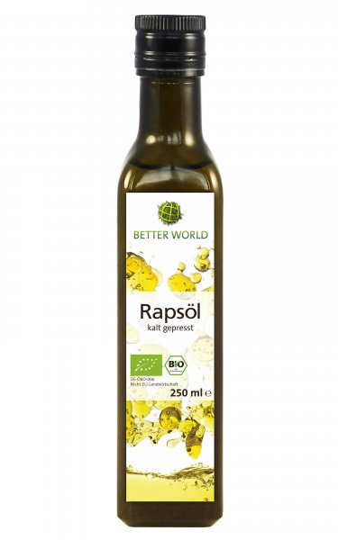 Bio-Rapsöl, kaltgepresst-Bio-Rapsoel sozial verantwortlich gehandelt-Fairer Handeln mit Rapsoel von Menschen mit Behinderung-Fairtrade Bio-Rapsoel von Better World