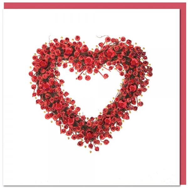 Grusskarte Herz, weiss - inkl. Umschlag-Grusskarte Glueckwunschkarte aus Fairem Handel von Weltpartner-Fairer Handel mit Papier und Handwerk-Fairtrade Grusskarte Valentinstag aus Thailand