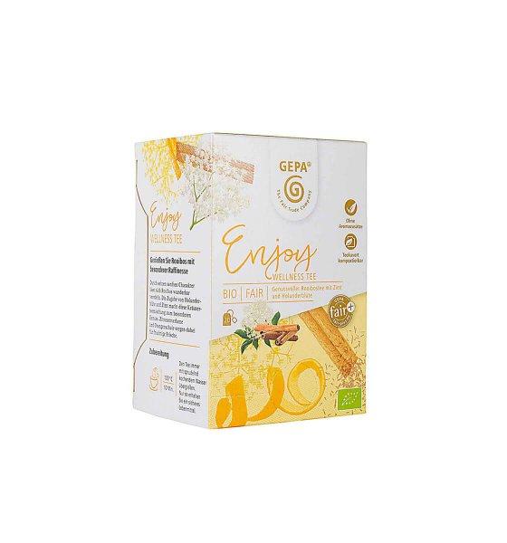 Bio-Wellness-Tee 'Enjoy'-Wellness Bio-Kraeutertee aus Fairem Handel von GEPA-Fairer Handel mit Tee, Kraeutern und Wellness-Fairtrade Bio-Kraeutertee aus Aegypten und Vietnam