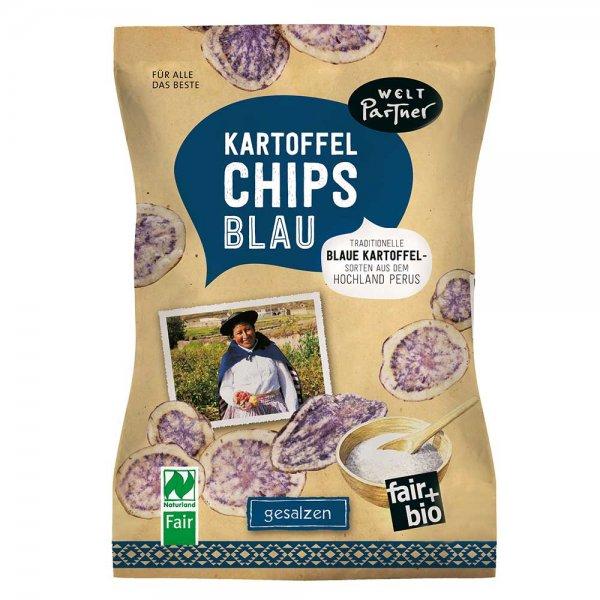 blaue Kartoffelchips, gesalzen