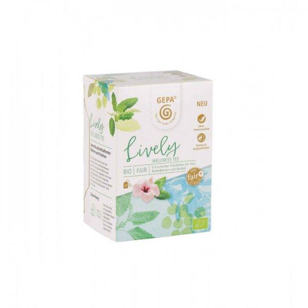 Bio-Wellness-Tee Lively-Bio-Fruechtetee Wellness aus Fairem Handel von GEPA-Faier Handel mit Tee, Kraeutern und Wellness-Fairtrade Bio-Fruechtetee aus Burkina Faso und Suedafrika