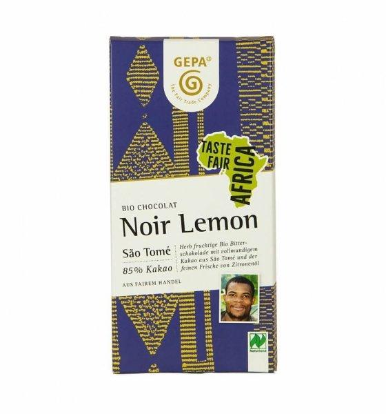 Bio-Schokolade Noir Lemon-Bio-Schokolade Noir Lemon vegan aus Fairem Handel-Fairer Handel mit Kakao und Schokolade-Fairtrade Bio-Schokolade von GEPA Sao Tome
