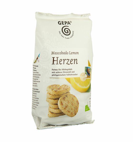 Bio-Gebäck Mascobado-Lemon Herzen