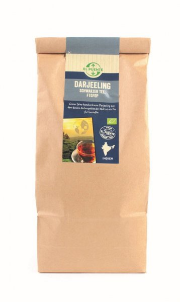 Bio-Darjeeling Schwarztee FTGFOP, Grosspackung-Bio-Schwarztee Darjeeling aus Fairem Handel von El Puente-Fairer Handel mit Tee von Kleinbauern-Fairtrade Bio-Darjeeling Schwarztee aus Indien Grosspackung
