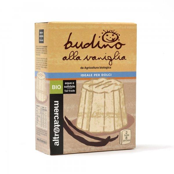 Bio-Pudding Vanille-Bio-Vanille Pudding aus Fairem Handel von Altromercato-Fairer Handel mit Vanille und Rohrzucker-Fairtrade Bio-Pudding von Kleinbauern Paraguay und Indien
