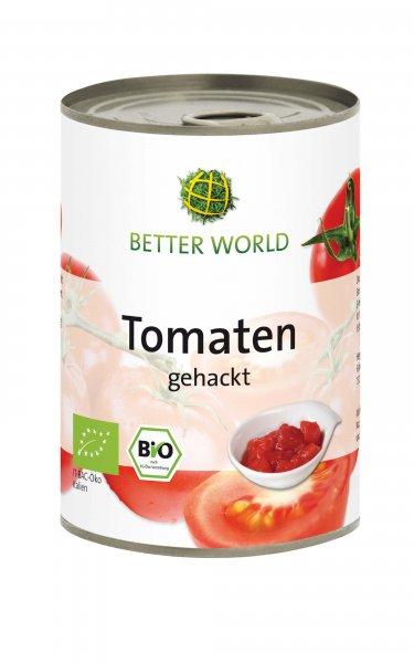 Bio-Tomaten, gehackt-Bio-Tomaten gehackt aus Fairem Handel von Betterworld-Fairer Handel mit Tomaten aus Italien-Fair Trade Bio-Tomaten in der Dose