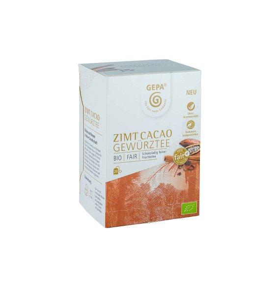 Bio-Gewürztee Zimt-Kakao, im Teebeutel-Bio-Gewuerztee Zimt Kakao Teebeutel aus Fairem Handel von GEPA-Fairer Handel mit Tee und Gewuerzen-Fairtrade Bio-Gewuerztee aus Sri Lanka und Peru