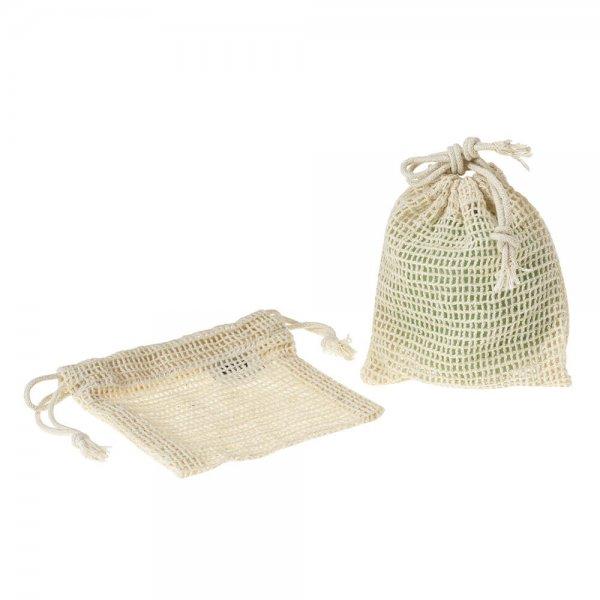 Hello Soap Bag - 2er Set aus Bio-Baumwolle-Bio-Baumwolle Seifensackchen Soap Bag aus Fairem Handel-Plastik vermeiden Ressourcen sparen-Fair Trade Bio-Baumwoll-Saeckchen Seife Seifenreste Weltpartner
