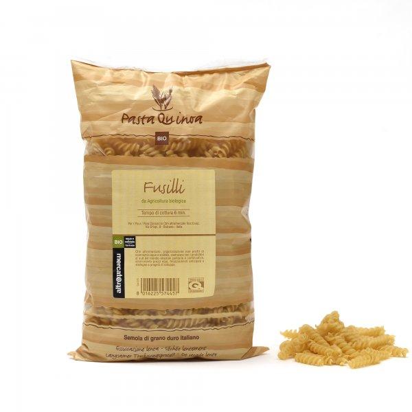 Bio-Fussili mit Quinoa-Bio-Pasta Fussili mit Quinoa aus Fairem Handel von Altromercato-Fairer Handel mit Pasta und Quinoa-Fairtrade Bio-Quinoa-Pasta aus Italien