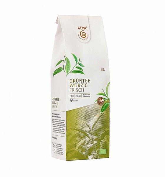 Bio-Grüntee Mischung, 250 g-Bio-Gruentee aus Fairem Handel von GEPA-Fairer Handel mit Tee und Gruentee-Fairtrade Bio-Gruentee aus Indien, Vietnam und China