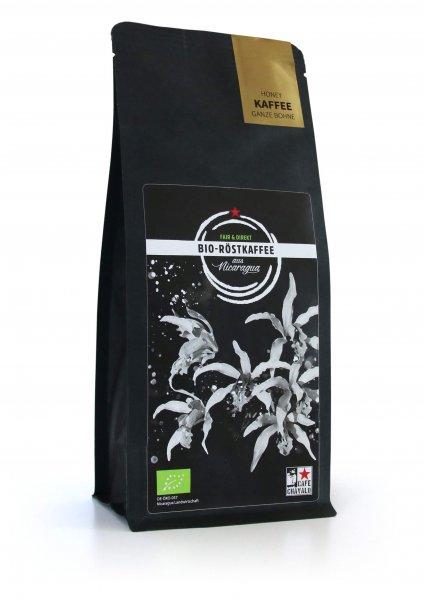 Bio-Röstkaffee 'Honey', ganze Bohne-Bio-Roestkaffee Honey aus Fairem Handel von Cafe Chavalo-Fairer Handel mit Kaffee von Frauenkooperative-Fairtrade Bio-Kaffee von Frauen aus Nicaragua