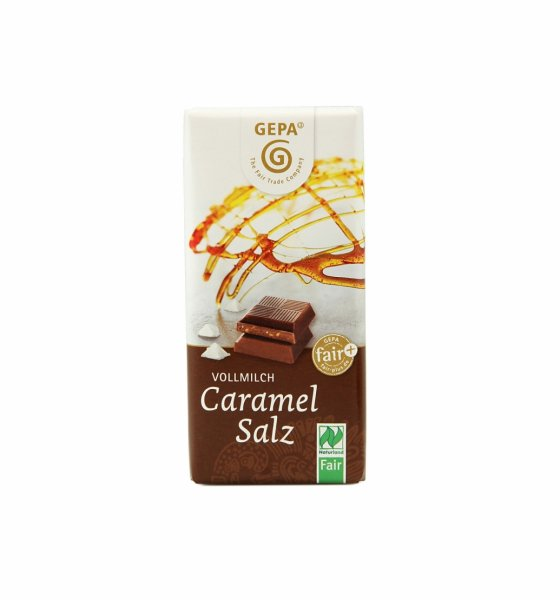 Bio-Vollmilchschokolade Karamell-Salz-Bio-Vollmilchschokolade aus Fairem Handel-Faire Handel mit Kakao und Schokolade-Fairtrade Bio-Vollmilchschokolade aus der Dominikanischen Republik und Paraguay