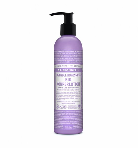 Bio-Body Lotion Lavendel-Kokosnuss-Bio-Body Lotion Koerperlotion Lavendel-Kokosnuss Fair Trade-Fairer Handel mit Naturkosmetik und Wellnessprodukten-Fair Trade Bio-Body Lotion Dr. Bronner's