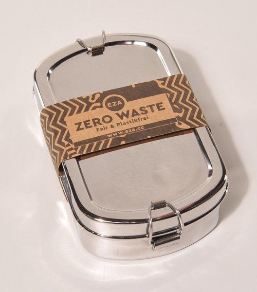 Brotdose / Lunchbox Mandala aus Edelstahl - rechteckig-nachhaltige Brotdose Lunchbox aus Fairem Handel von EZA-Fairer Handel mit nachhaltigen Produkten Zubehoer fuer Kueche Essen-Fairtrade Edelstahl Brotdose Lunchbox aus Indien