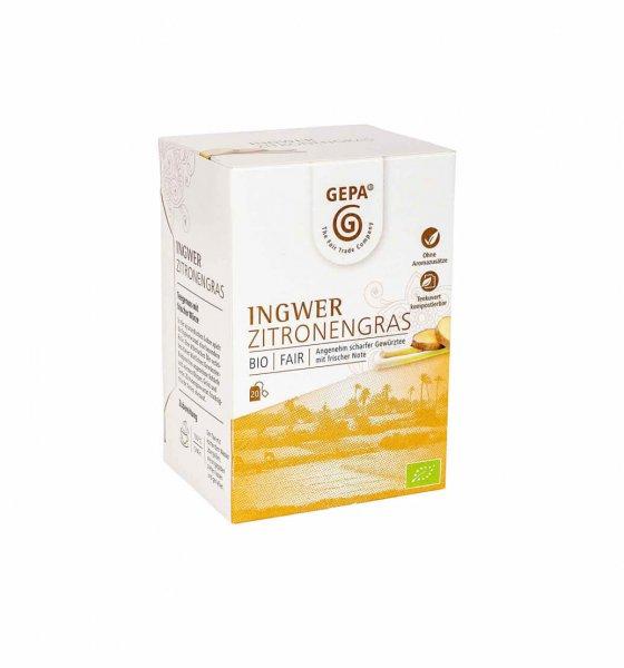 Bio-Tee Ingwer-Zitronengras-Bio-Tee Ingwer-Zitronengras aus Fairem Handel von GEPA-Fairer Handel mit Tee, Kraeutern und Gewuerzen-Fairtrade Bio-Kraeutertee von SEKEM Aegypten