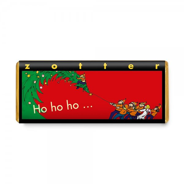 Bio-Schokolade Ho, ho, ho-handgeschoepfte Bio-Schokolade Honig Nuesse Zotter-Fairer Handel mit Schokolade und Kakao-Fairtrade Bio-Schokolade Weihnachten Weltpartner