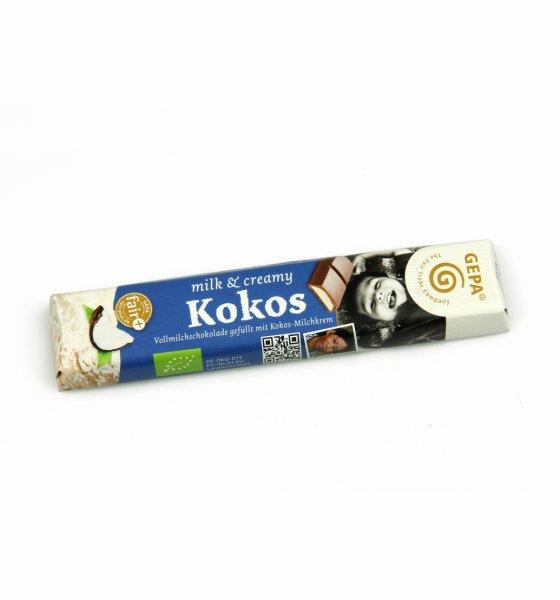 Bio-Schokoriegel Kids mit Kokos-Milchcremefüllung-Bio-Schokoriegel Kids Kokos aus Fairem Handel-Fairer Handel mit Kakao, Schokolade und Kokos-Fairtrade Bio-Schokoriegel Kids aus Sri Lanka, Peru und Paraguay