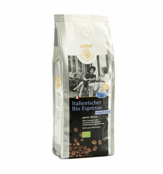 Italienischer Bio-Espresso entkoffeiniert, ganze Bohne-Bio-Espresso entkoffeiniert aus Fairem Handel-Fairer Handel mit Kaffee Bio-Kaffee-Fairtrade Bio-Espresso entkoffeiniert aus Guatemala Nicaragua
