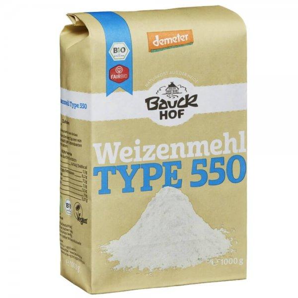 Bio-Weizenmehl 'Type 550', Demeter-Demter Bio-Weizenmehl aus Fairem Handel von Bauck Hof-Fairer Handel mit Mehl und Weizen in Europa-Fairtrade Bio-Weizenmehl von Bauern aus Deutschland