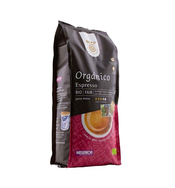 Bio-Espresso Orgánico, ganze Bohne-Bio-Espresso Organico ganze Bohne aus Fairem Handel von GEPA-Fairer Handel mit Kaffee und Kakao-Fair Trade Bio-Roestkaffee aus Mexiko, Peru, Bolivien, Honduras