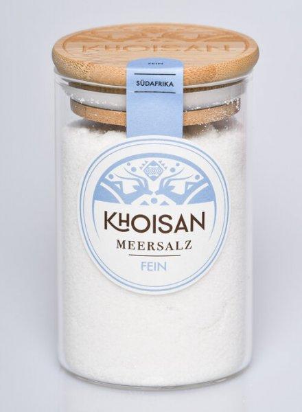 Naturreines Meersalz, fein gesiebt-Mikroplastikfreies naturreines Meersalz aus Fairem Handel von Khoisan-Fairer Handel mit Salz, Kraeuter und Gewuerzen-Fairtrade Naturreines Meersalz von Khoisan aus Suedafrika