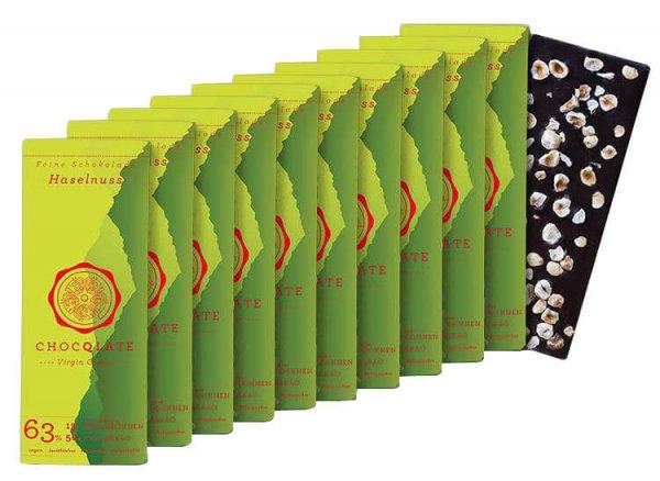 Bio-Schokolade Virgin Cacao Haselnuss, 10er Pack-vegane Bio-Schokolade Haselnuss 10er Pack Chocqlate aus Fairem Handel-Fairer Handel mit Schokolade Rohkakao Kakao-Fair Trade Bio-Schokolade vegan glutenfrei laktosefrei lecithinfrei