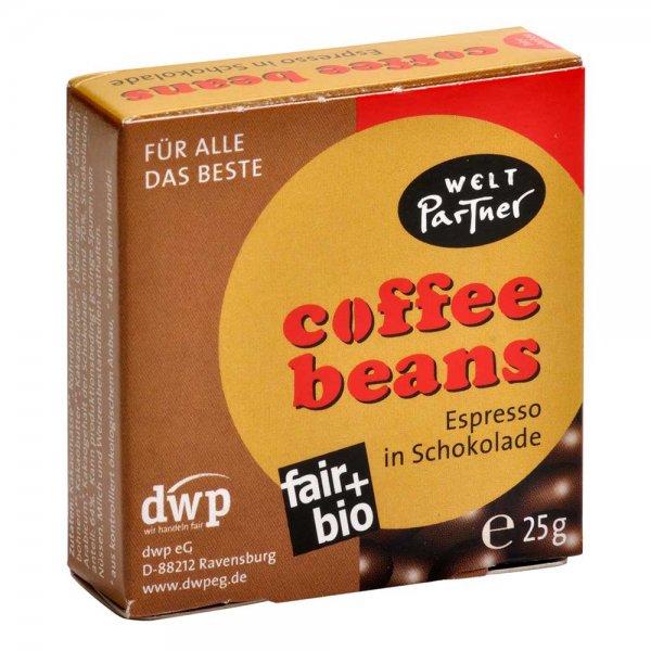 Hosentaschen-Kaffee, Espressobohnen in Zartbitterschokolade
