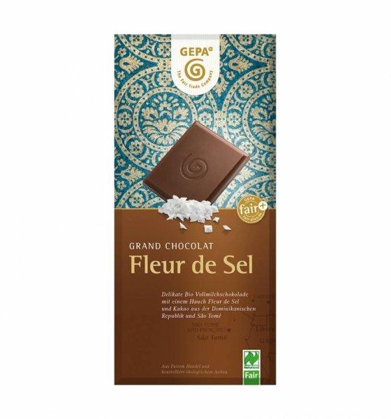 Bio-Schokolade Fleur de Sel-Bio-Schokolade Fleur de Sel aus Fairem Handel-Fairer Handel mit Schokolade Kakao-Fair Trade Bio-Schokolade aus Dominikanische Repbublik, São Tomé und Bolivien
