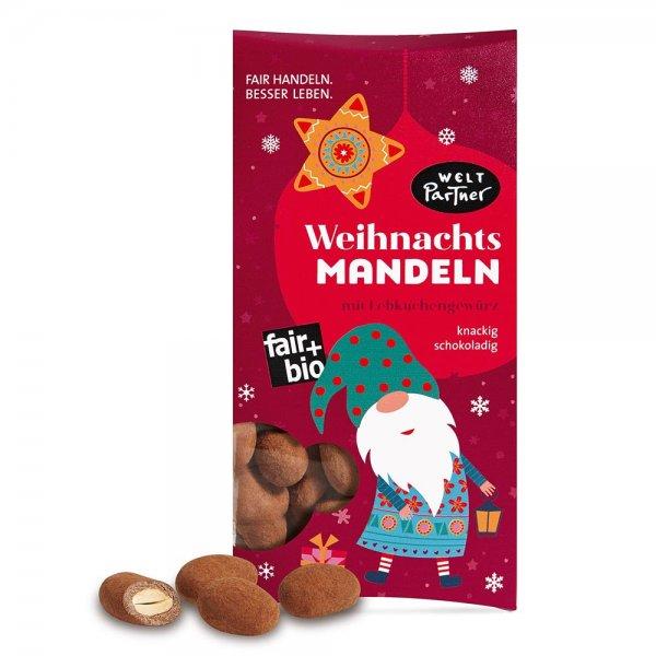 Bio-Weihnachtsmandeln mit Lebkuchengewürz-Bio-Weihnachtsmandeln im Milchschokoladen mit Lebekuchengewuerz aus Fairem Handel von Weltpartner-airer Handel mit Mandeln, Schokolade und Kakao-Fairtrade Bio-Mandeln in Schokolade fuer Weihnachten Geschenke