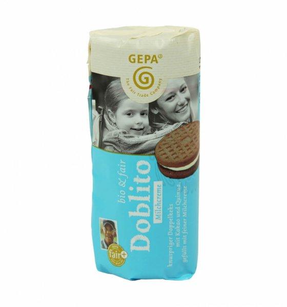 Doblito Bio-Doppelkeks Milchcreme-Bio-Doppelkeks mit Milchcreme aus Fairem Handel GEPA-Fairer Handel mit Gebaeck Alternative Prinzenrolle-Fairtrade Bio-Doppelkeks Doblito aus Bolivien, Paraguay