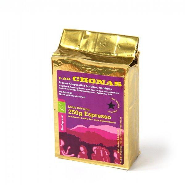 Bio-Espresso Las Chonas, milde Röstung - gemahlen-Bio-Espresso gemahlen aus Fairem Handel von Cafe Libertad-Fairer Handel mit Kaffee und Espresso-Faitrade Bio-Kaffee von Frauen-Kooperative aus Honduras