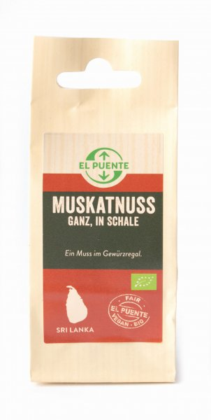 Bio-Muskatnuss, ganz-Bio-Muskatnuss aus Fairem Handel von El Puente-Fairer Handel mit Gewuerzen und Kraeutern-Fairtrade Bio-Muskatnuss von PODIE aus Sri Lanka
