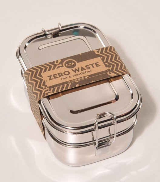 Brotdose / Lunchbox Mandala aus Edelstahl - 2 Etagen, rechteckig-nachhaltige Brotdose Lunchbox aus Fairem Handel von EZA-Fairer Handel mit nachhaltigen Produkten Zubehoer fuer Kueche Essen-Fairtrade Edelstahl Brotdose Lunchbox aus Indien