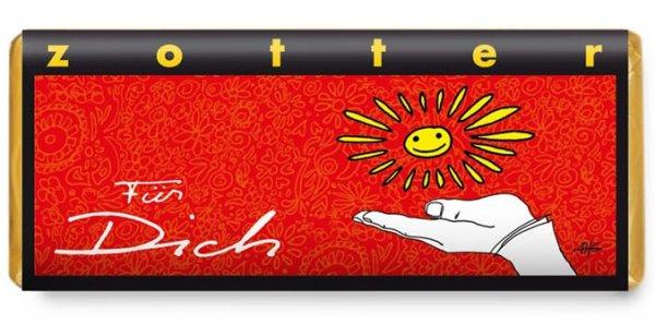 Bio-Schokolade Für Dich-handgeschoepfte Bio-Schokolade Nougatvariationen aus Fairem Handel von Zotter-Fairer Handel mit Schokolade, Kakao und Geschenken-Fairtrade Bio-Schokolade Valentinstag Geschenk Weltpartner